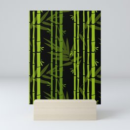 Green Bamboo Shoots and Leaves Pattern on Black Mini Art Print
