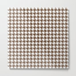 Coffee Brown Houndstooth Pattern Metal Print