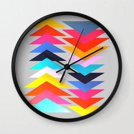 Multicolored triangles Wall Clock