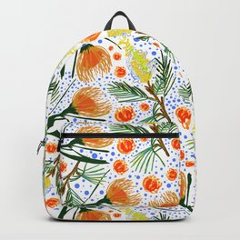 Australian Native Floral Pattern - Grevillea and Pincushion Flowers Backpack