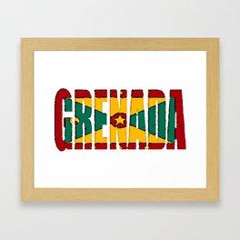 Grenada Font with Grenadine Flag Framed Art Print