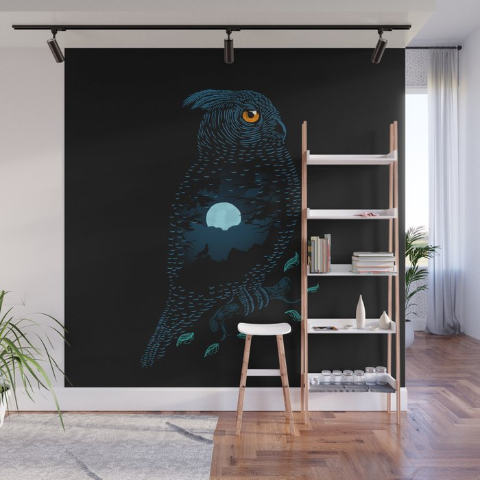 The Owl and the Forest Wall Mural