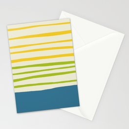 Playing with Strings - Line Art - Blue, Green, Yellow Stationery Cards
