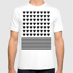 Heart Stripes Black on White SMALL White Mens Fitted Tee
