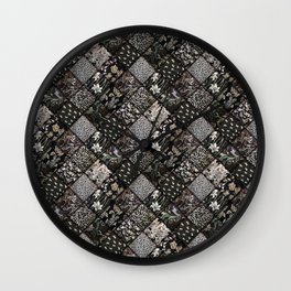 Faux Patchwork Quilting - Black Wall Clock