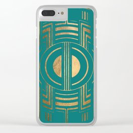 Art Deco Unfinished Love In Turquoise Clear iPhone Case