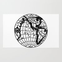 globe Area & Throw Rugs featuring Globe by Gallymogger Print