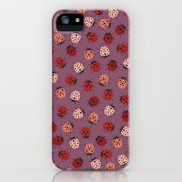 All over Modern Ladybug on Mauve Pink Background iPhone Case