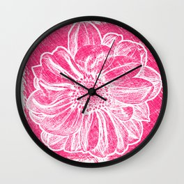 White Flower On Pink Crayon Wall Clock