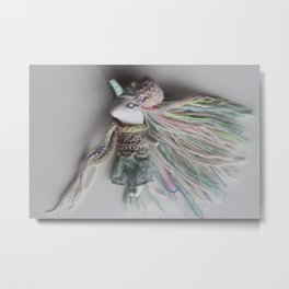 Rainbow Unicorn Doll Metal Print