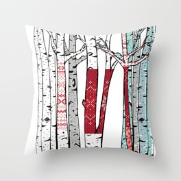 Birch Forest Yarn Bomb Throw Pillow
