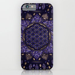 Flower of Life in Lotus Dot Art purples and gold iPhone Case
