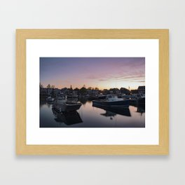 Rockport Harbor at twilight Framed Art Print
