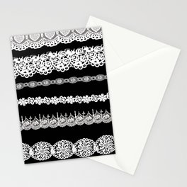 Black and white lace print Stationery Cards
