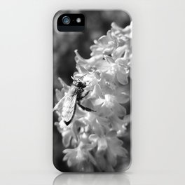 Bee2 and Blood Currant Ribes Sanguineum bw iPhone Case