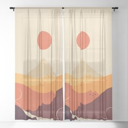 Cat Landscape 87 Sheer Curtain