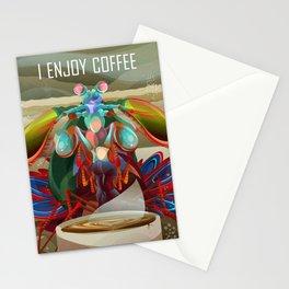 Rainbow Mantis Shrimp Enjoys Coffee Stationery Cards