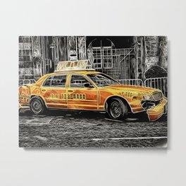 Yellow Taxi Cab Metal Print