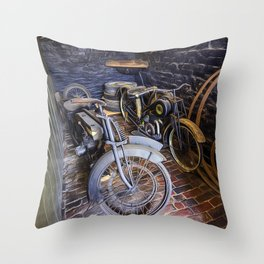 1920s Motorcycles Throw Pillow
