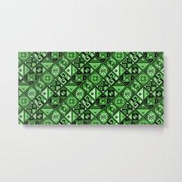 Folk Abstract Geometric Pattern - Sage Emerald Green Metal Print