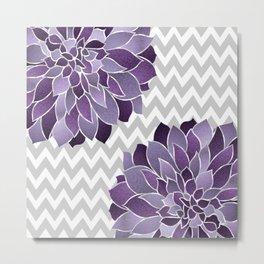 Floral Prints, Chevron, Purple and Gray, Print Arts Metal Print