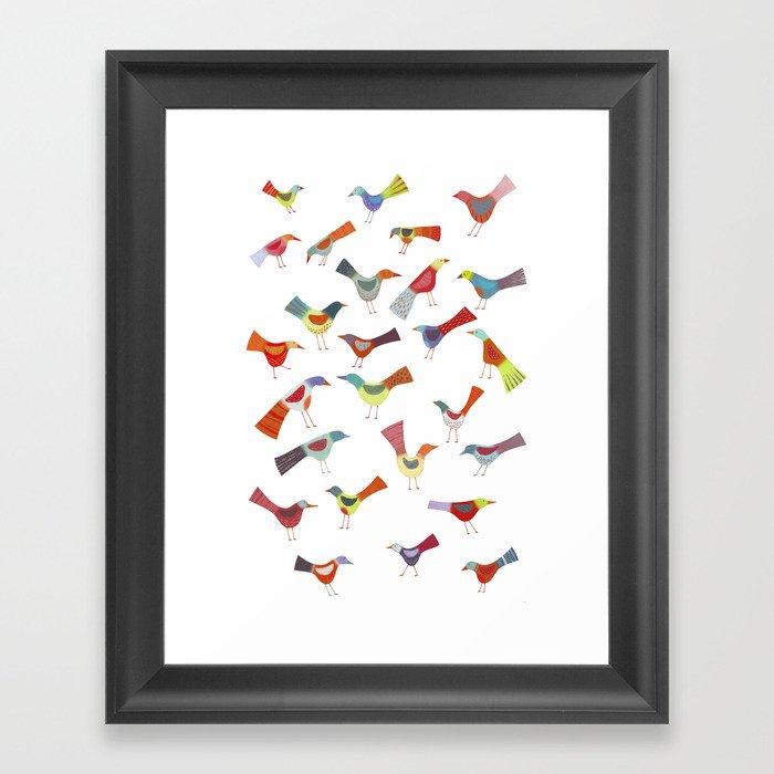Birds doing bird things Framed Art Print