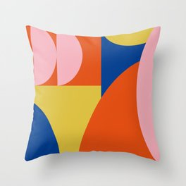 Bold Modern Bauhaus Shapes in Red, Pink, Blue, and Yellow Throw Pillow