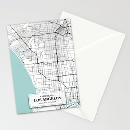 Los Angeles California with GPS Coordinates Stationery Cards
