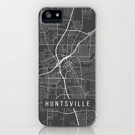 Huntsville Map, Alabama USA - Charcoal Portrait iPhone Case