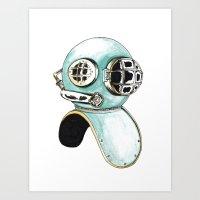 scuba Art Prints featuring Scuba Helmet by Morgan Braaten