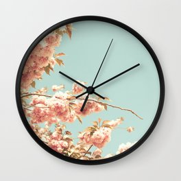 Blush pink cherry blossoms Wall Clock