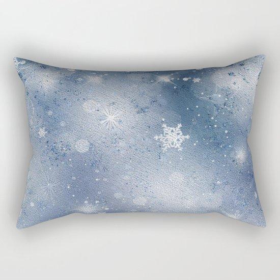 Silver blue snowflakes Rectangular Pillow
