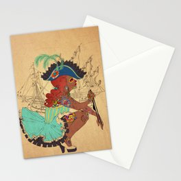 Tattooed Lady Pirate Stationery Cards