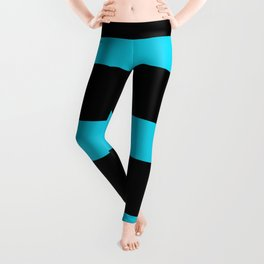 Hollywood Nights Black and Teal Stripes Leggings