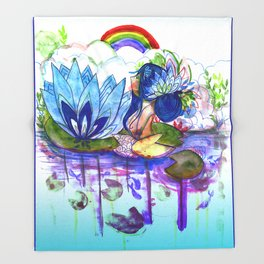 The blue lily water Throw Blanket