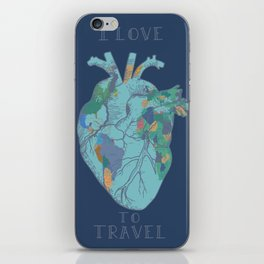love to travel-world map 2 iPhone Skin