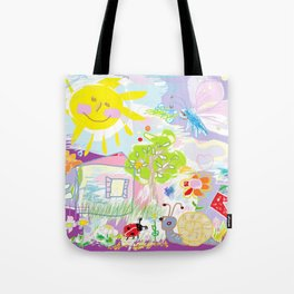 My happy world Doodle for children room Nursery home decor Tote Bag