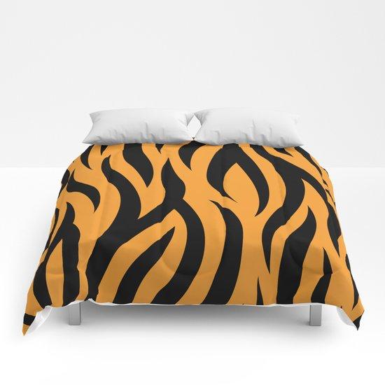 Tiger Stripes Pattern - Orange, Black Comforters