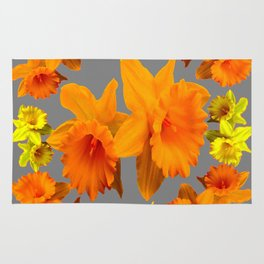 YELLOW-GOLD SPRING DAFFODILS & CHARCOAL GREY COLOR Rug
