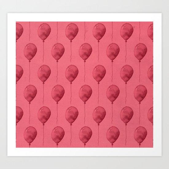 Balloons Watercolor Pattern Art Print