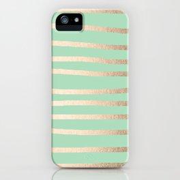 Stripes Metallic Gold Mint Green iPhone Case