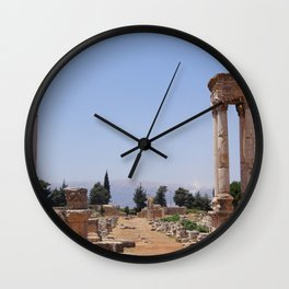 Ruins - Pillars & Mountains  Wall Clock