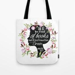 Too Fond Of Books Tote Bag