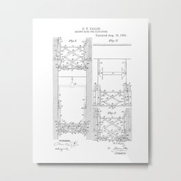 Safety Gate for Elevators Vintage Patent Hand Drawing Metal Print