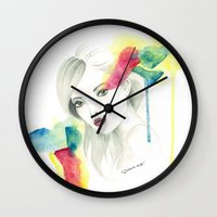 gemma correll Wall Clocks featuring Gemma Ward by Simona Borstnar