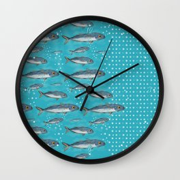 Atlantic Horse Mackerel and Bubble Dots Pattern Wall Clock