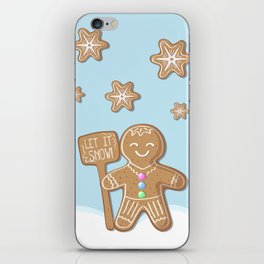Merry Christmas Blue Poster with Gingerbread Man and Snowflakes iPhone Skin
