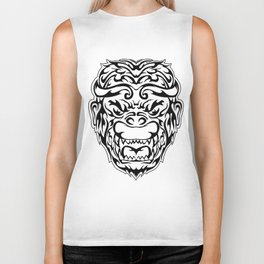 Tribal Monkey Head Biker Tank