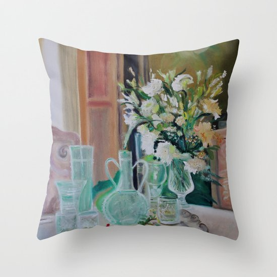 Bunch of white flowers Throw Pillow