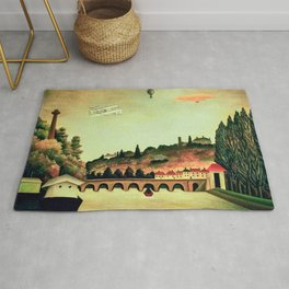 View of the Bridge of Sevres by Henri Rousseau Rug